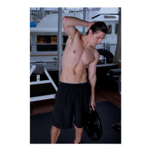 Male fitness model lifting a weight posters