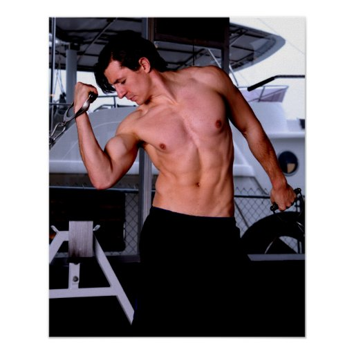 Male fitness model working out poster