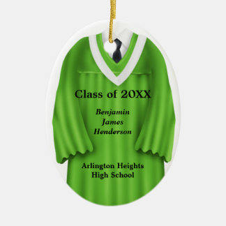 Male Grad Gown Green and White Ornament