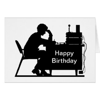 Male Ham Taking Message Silhouette Birthday Card