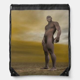 Male homo erectus - 3D render Drawstring Bag