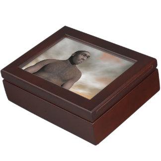 Male homo erectus - 3D render Keepsake Box