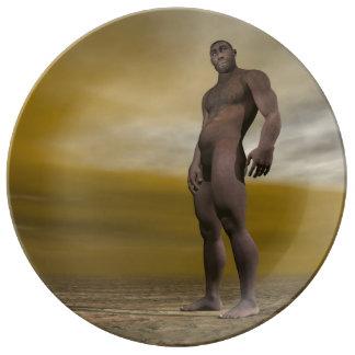 Male homo erectus - 3D render Plate