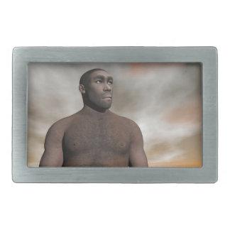 Male homo erectus - 3D render Rectangular Belt Buckles