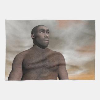 Male homo erectus - 3D render Tea Towel