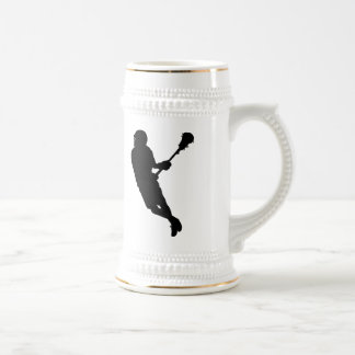 Male Lacrosse Player Silhouette Beer Stein