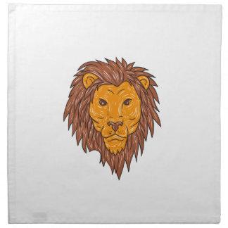 Male Lion Big Cat Head Drawing Napkin