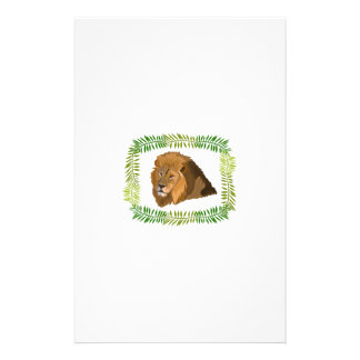 MALE LION HEAD AND JUNGLE BORDER STATIONERY PAPER