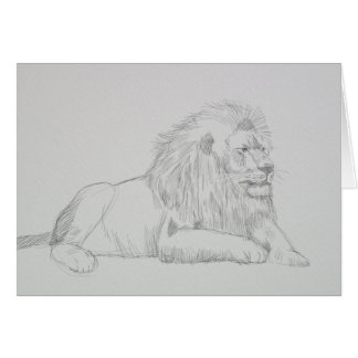 Male Lion Sketch Greeting Card
