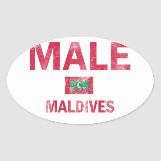 Male Maldives Designs Oval Sticker
