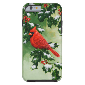 Male Northern Cardinal and Holly Tough iPhone 6 Case