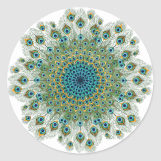 Male Peacock Colorful Mandala Classic Round Sticker