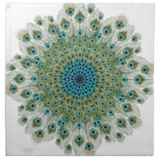 Male Peacock Colorful Mandala Napkin