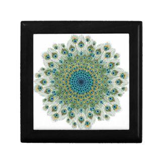 Male Peacock Colorful Mandala Small Square Gift Box