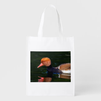 Male red-crested pochard, netta rufina, duck reusable grocery bag