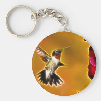 Male Ruby-throated Hummingbird Basic Round Button Key Ring
