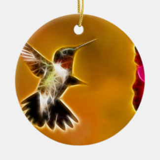 Male Ruby-throated Hummingbird Round Ceramic Decoration