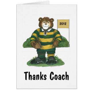 Male Rugby Bear in Green and Gold Greeting Card