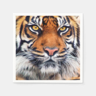 Male Siberian Tiger Paint Photograph Disposable Serviettes