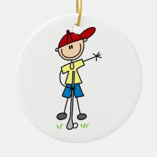 Male Stick Figure Golfer Ceramic Ornament