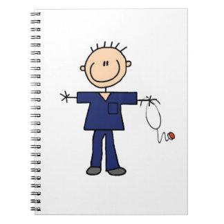 Male Stick Figure Nurse - Blue Spiral Notebook