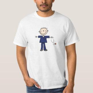 Male Stick Figure Nurse - Blue T-Shirt