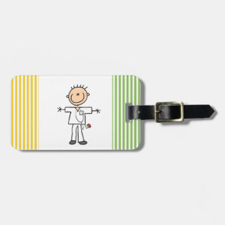 Male Stick Figure Nurse Luggage Tag