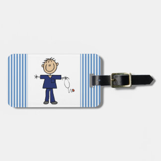 Male Stick Figure Nurse Medium Skin Luggage Tag