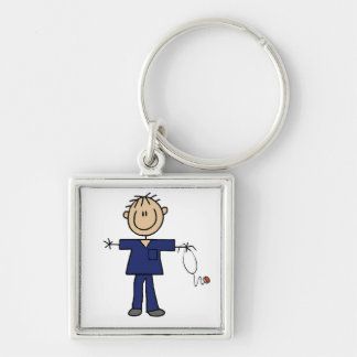 Male Stick Figure Nurse Medium Skin Silver-Colored Square Key Ring