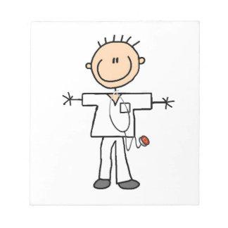 Male Stick Figure Nurse Notepad