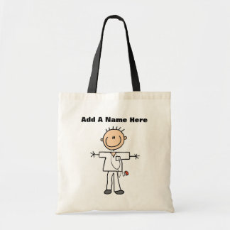 Male Stick Figure Nurse T-shirts and Gifts Budget Tote Bag
