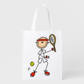 Male Stick Figure Tennis Player Reusable Grocery Bag