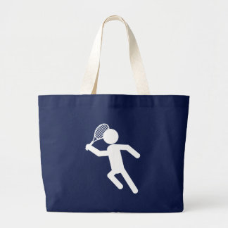 Male Tennis Player - Tennis Symbol (on Black) Large Tote Bag