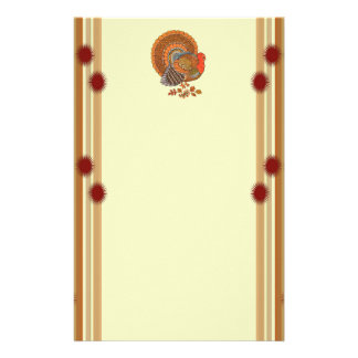 Male Turkey in Autumn Colors Red Borders Designs Stationery