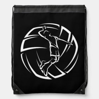 Male Volleyball Player Spiking Drawstring Bag