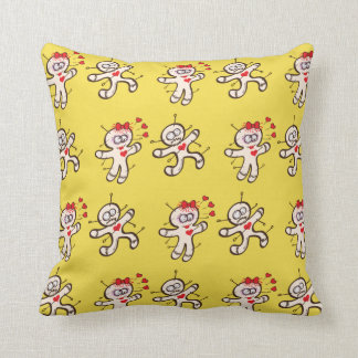 Male voodoo doll running from a female in love cushion