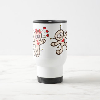 Male voodoo doll running from a female in love travel mug