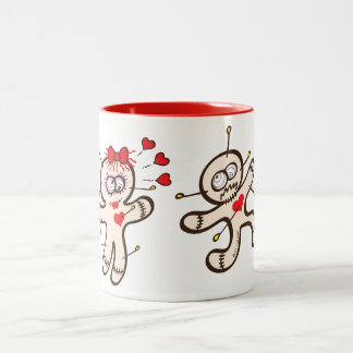 Male voodoo doll running from a female in love Two-Tone coffee mug