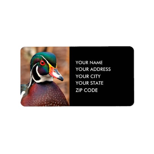 Male Wood Duck in the Woods Address Label