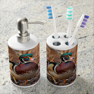 Male Wood Duck in the Woods Soap Dispenser And Toothbrush Holder