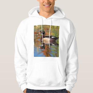 Male wood duck swims, California Hoodie