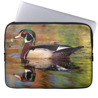 Male wood duck swims, California Laptop Sleeve