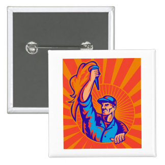 male worker carrying flaming torch sunburst retro pinback buttons