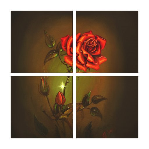 Malfux Rose Wrapped Canvas 4 Canvas Print