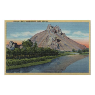 Malheur Butte & River, Oregon View Poster