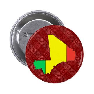 Mali Flag Map full size 6 Cm Round Badge