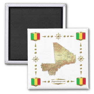 Mali Map + Flags Magnet