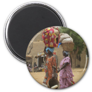 Mali Women at the Monday Market, Djenne-2 6 Cm Round Magnet