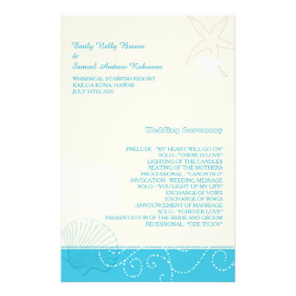 Malibu Blue + Ivory Modern Beach Wedding Programs Custom Flyer