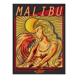 MALIBU CALIFORNIA SURFBREAK SURFING POSTER